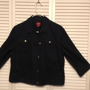 Chaps Denim navy jacket with 3/4 sleeves size XL